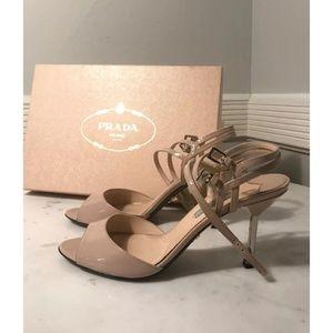 Prada Patent Double Ankle Strap Sandal 38.5